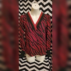 NWOT Express Red and Black Top / Blouse